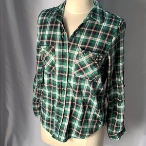Forever 21 Plaid Shirt with Stud Embellishments